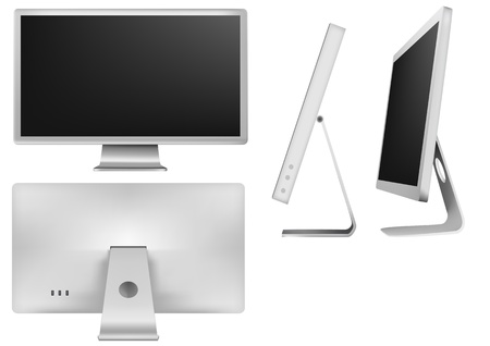 illustration set of elegant white monitor Vector
