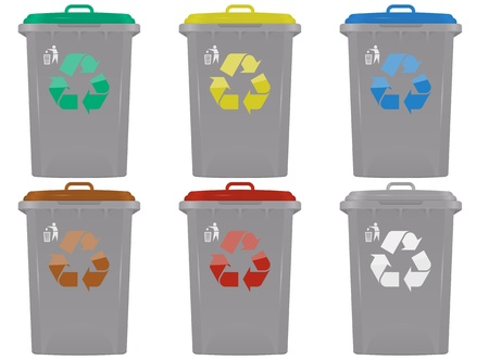 illustration of waste bins in six colors Vector