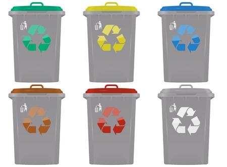 ilustraci�n de contenedores de basura en seis colores Foto de archivo - 13508202