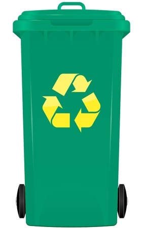illustration of wheelie bin with symbol recycle Illustration