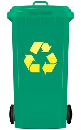 papelera de reciclaje: ilustraci�n de cubo de la basura con el s�mbolo de reciclaje