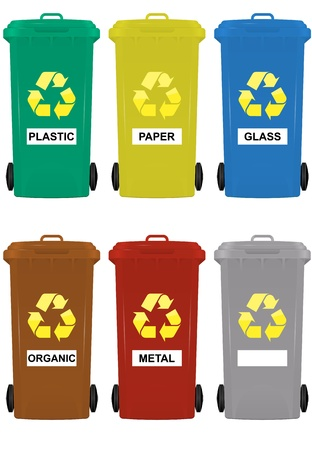 illustration of wheeled bins in six colors