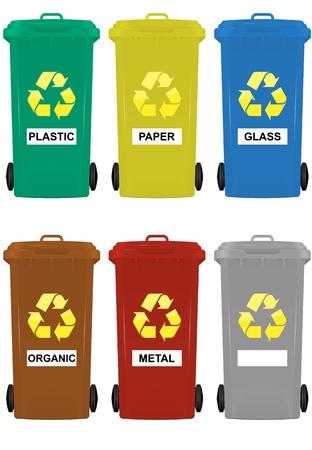 ilustración de contenedores con ruedas de seis colores