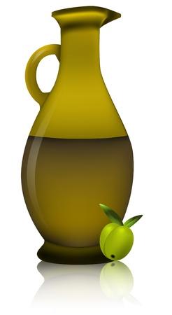 illustration of olive oil bottle with tho olives