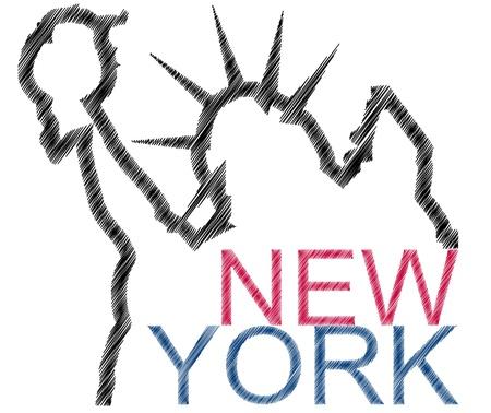 illustratie van new york twxt en het standbeeld van vrijheid Stock Illustratie