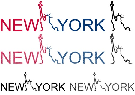 illustration of new york and statue of liberty Vector