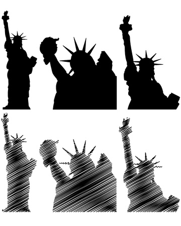 liberty statue: illustration of new york and statue of liberty