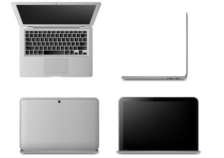 illustratie van laptop, gezien vanuit verschillende hoeken