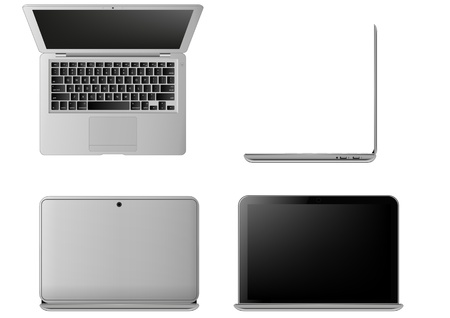 front side: illustration of laptop, seen from different angles
