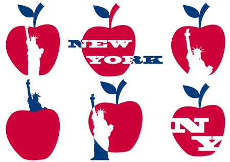 illustratie van de Big Apple en het standbeeld van vrijheid