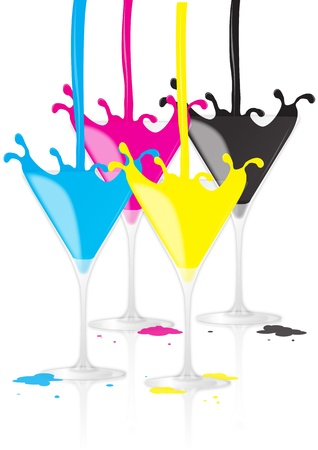 poured: illustration of poured into a glass color, cyan, magenta, yellow, black Illustration