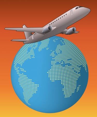 afrika: illustration of airplane around the world