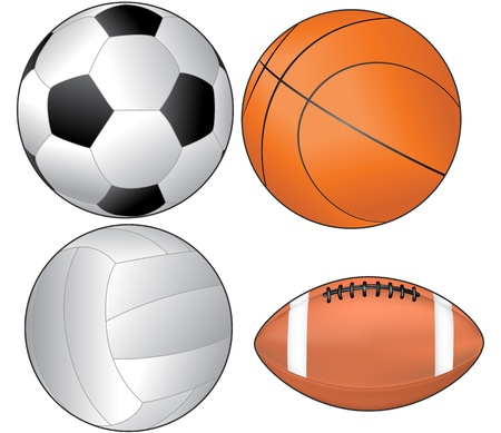illustration of balls for soccer, basket, volley and american football Vector