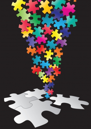piece: illustration of color pieces of puzzle