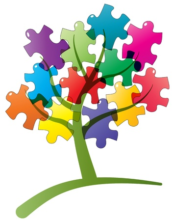 red puzzle piece: illustration of tree with puzzle pieces