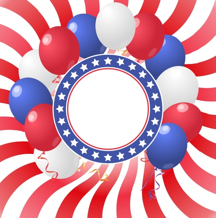 illustration of blank circle with balloons with usa colors flag Vector