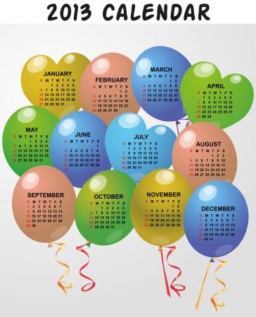 time fly: illustration of 2013 balloon calendar Illustration