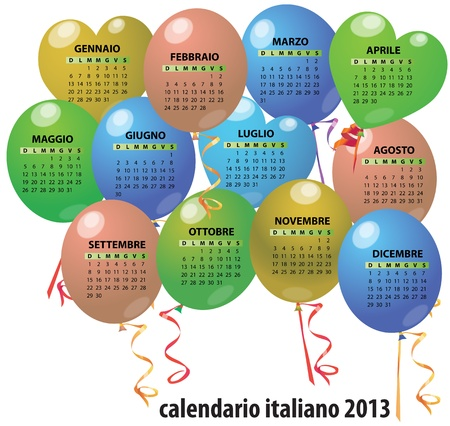 illustration of 2013 balloon calendar in italian Vector