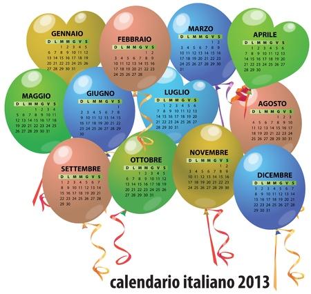 illustration of 2013 balloon calendar in italian Stock Vector - 14177081