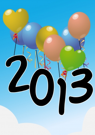 illustration of balloons with 2013 text Vector