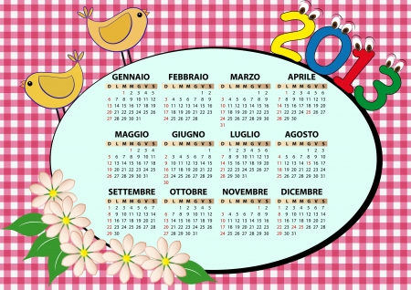 2013 bird and flower calendar for children in italian Stock Vector - 14177046