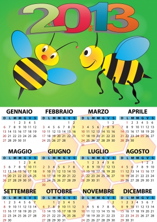 illustration of 2013 calendar for children in italian Vector