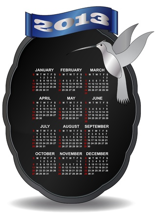 illustration of classic 2013 calendar with humming bird Vector