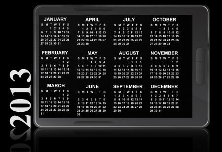 illustration of 2013 electronic calendar Stock Vector - 14177066