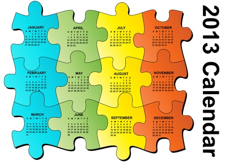 illustration of 2013 calendar on pieces of puzzle Vector
