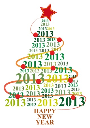 illustration of xmas tree with 2013 text year