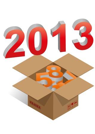 brown box: illustrazione della scatola marrone con 2013 testo colorato