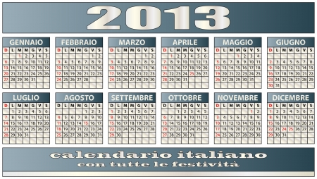 illustration of 2013 calendar italian with holidays Vector