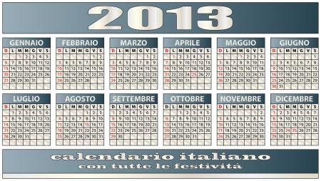 illustration of 2013 calendar italian with holidays Stock Vector - 14239081