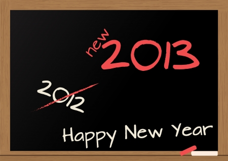 illustration of chalkboard wuth 2013 happy new year text Stock Vector - 14239082