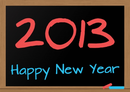 illustration of chalkboard wuth 2013 happy new year text Vector