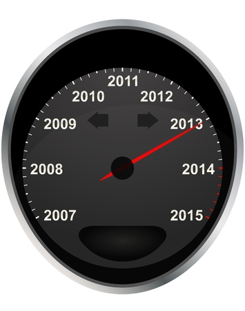 odometer: illustration of years odometer, 2013 year