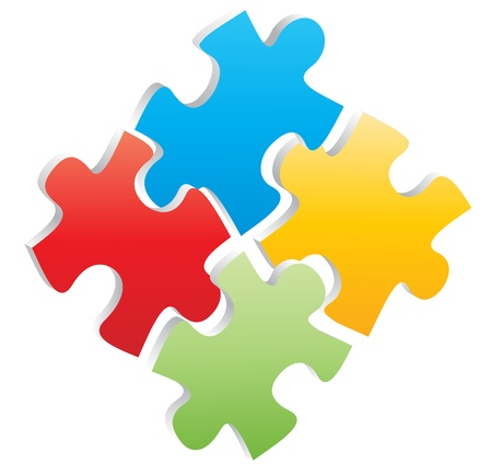 illustration of four pieces of colr puzzle  イラスト・ベクター素材