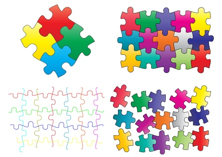 illustration set of pieces of colorful puzzle Stock Vector - 14239095