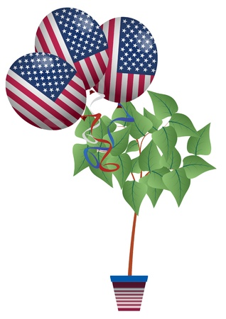 illustration of usa balloon and plant Vector