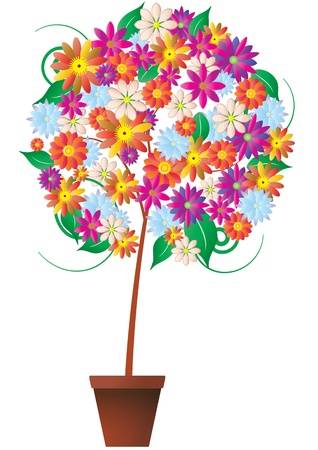 flowerpots: illustration of plant with colorful flower Illustration