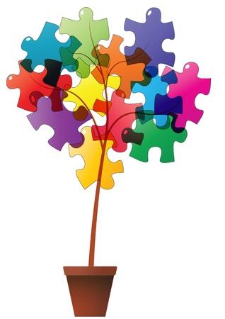 plant pot: illustration of plant with puzzle pieces