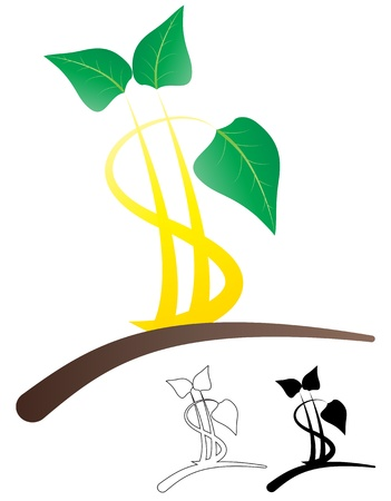 illustration of simple color leaf with dollar symbol Vector
