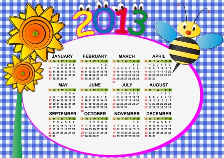 2013 bee and sunflower calendar for children Vector