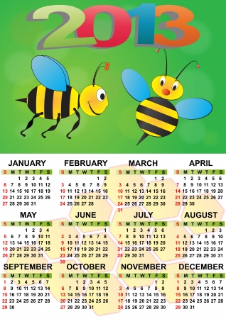2013 bee calendar for children Vector