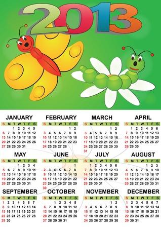 2013 butterfly calendar for children Stock Vector - 14381807