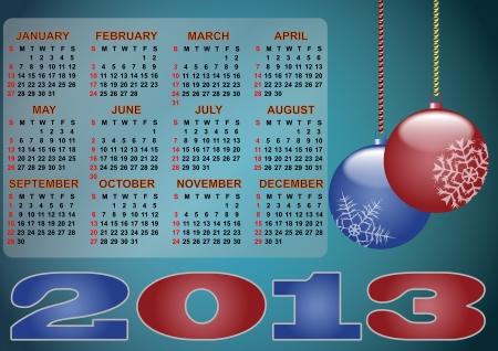 illustration pf 2013 ball xmas calendar Stock Vector - 14381797