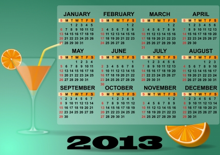 illustration of 2013 calendar with cocktail and orange Stock Vector - 14381796