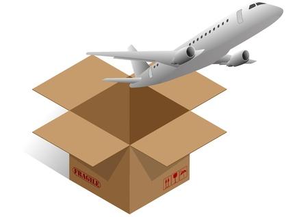 brown box: illustrazione della scatola marrone con aereo