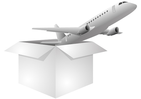 illustration of white box with airplane Stock Vector - 14381801