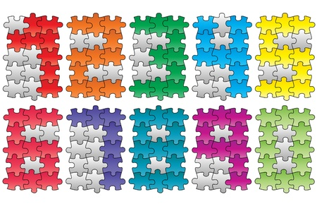 illustration of puzzle numbers, colorful and grey  Vector